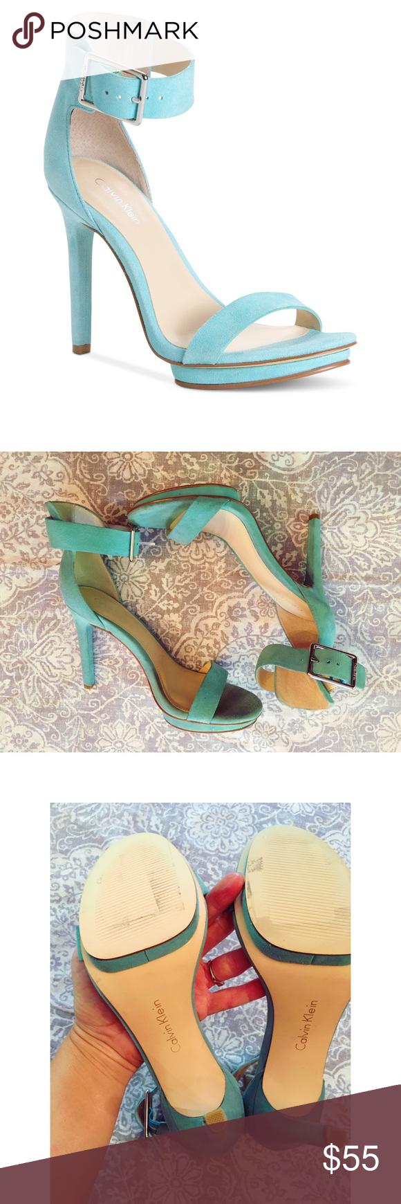 39599c57b72 Calvin Klein Vivian sandal Beautiful teal Calvin Klein Vivian suede sandal.  Leather upper  man