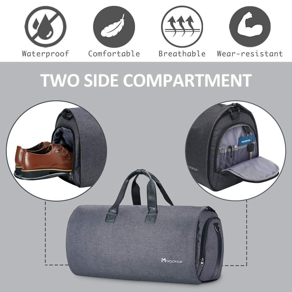 59add27e4 Amazon.com | Convertible Garment Bag with Shoulder Strap, Modoker Carry on Garment  Duffel Bag for Men Women - 2 in 1 Hanging Suitcase Suit Travel Bags ...
