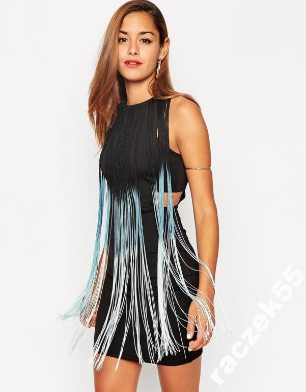 Asos Dopasowana Sukienka Wykonczona Fredzlami 36 5416832998 Oficjalne Archiwum Allegro Bodycon Mini Dress Maxi Dress Prom Black Cutout Dress