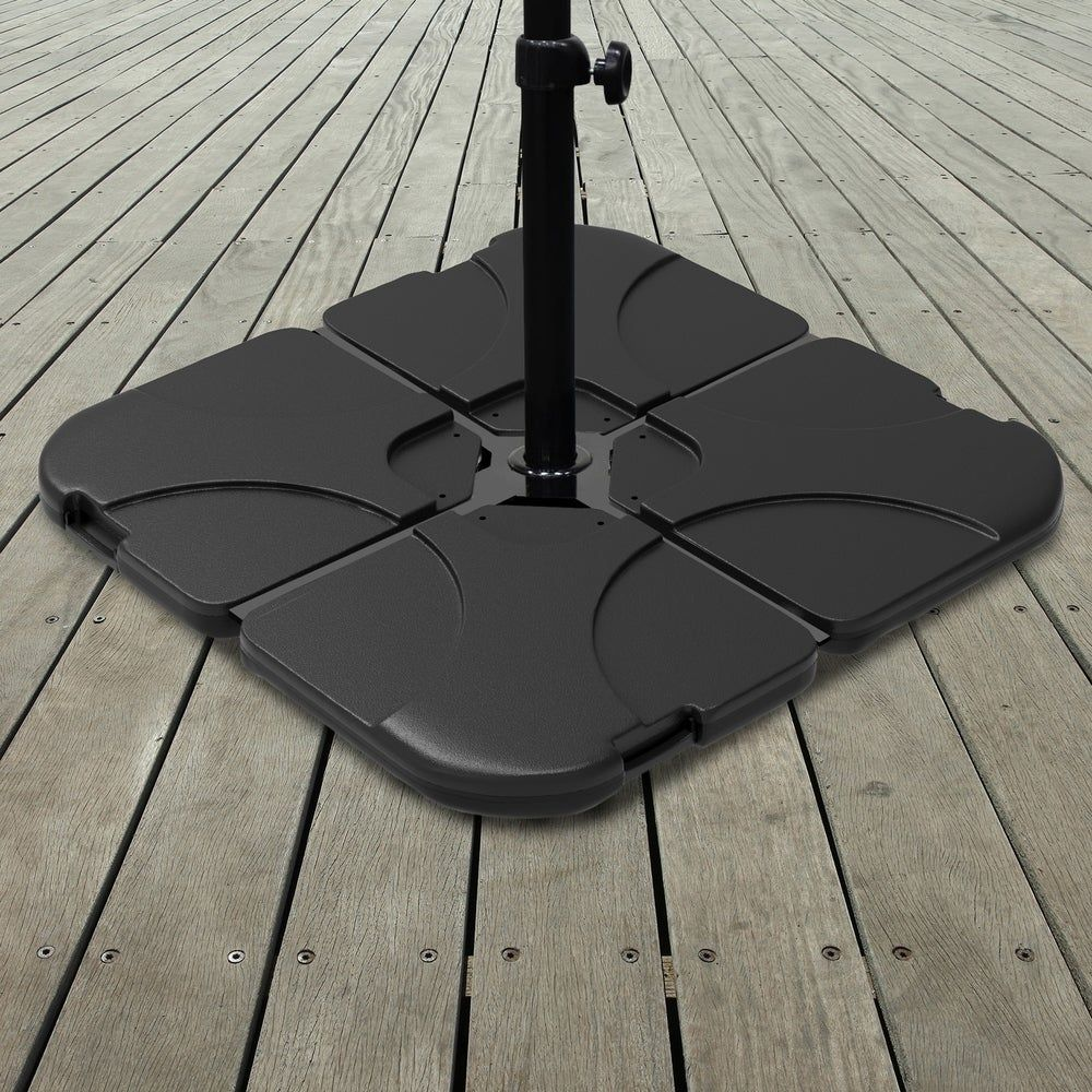 Pure Garden 220-Pound Capacity, 4-Piece Fillable Weighted Cantilever and Offset Umbrella Base with Handle, Black(Plastic)