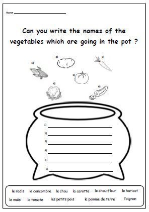 Activity French Worksheet To Learn Names Of Vegetablesprimary Etsy French Worksheets Word Activities Worksheets French printable worksheets