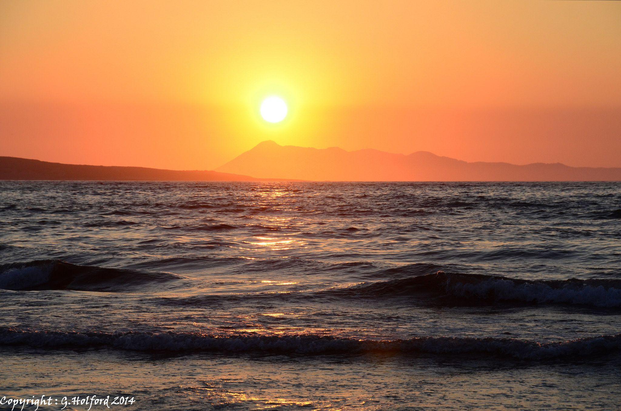 Sunset over Ionian Sea, Agios Stefanos, Peloponnese Western Greece, Ionian Island_ Greece
