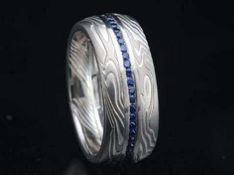 ZCE000-8-FullCh anillo de zafiro Mokume Eternidad