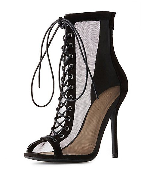 cc6e49935f69 Mesh Lace-Up Peep Toe Booties Lace Up Heel Boots