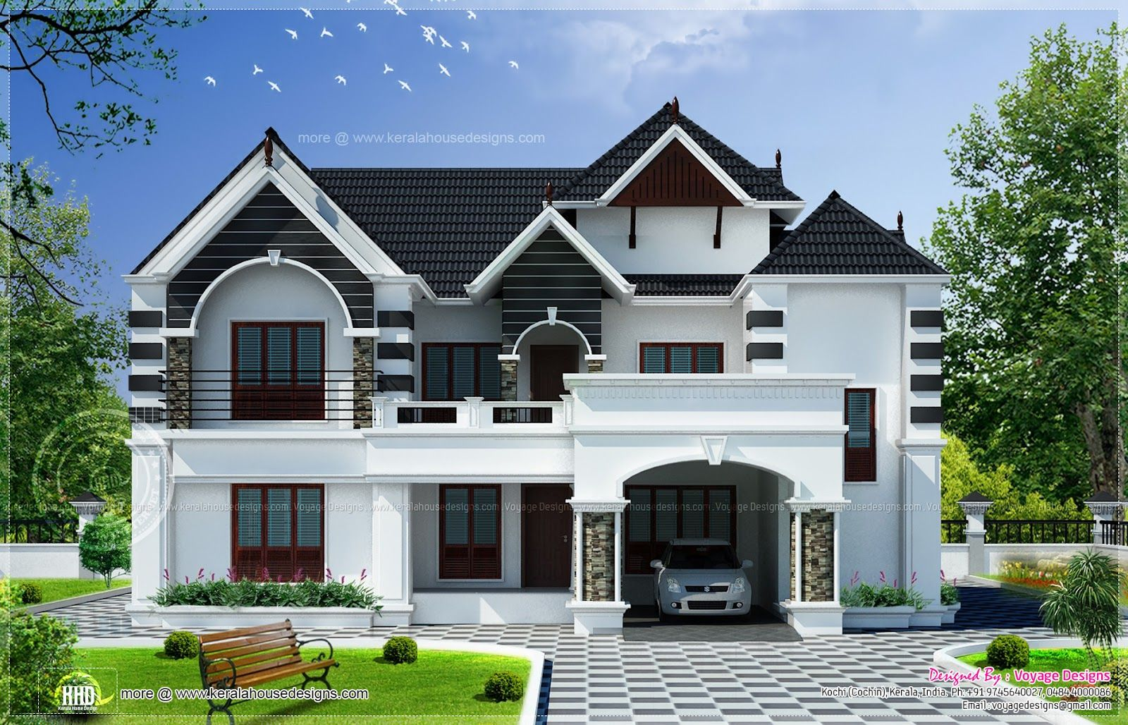 Colonial type modern luxury home - 2900 Square Feet 4 Bedroom Colonial Style House Design By Voyage Designs Cochin Kochi Kerala