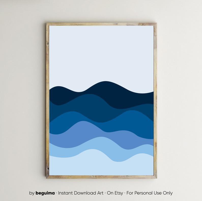 Meer Drucke, Ozean, druckbare Wandkunst, Wellen, blau, Poster, Home Decor, geometrische, Landschaft, Farbverlauf, modern, Marine, nautische, digitale Download