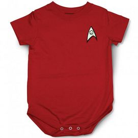 A great gift for the Star Trek fan this cute onesie will certainly help get the 'next generation' hooked on this popular series too. Designed for baby's comfort and parent's convenience, it is made from cotton and offers easy snap closures. Now baby can 'boldly go' anywhere with his Trekkie parents. Cotton Snap closure at gusset Scoop neckline, short sleeves Star Trek insignia chest logo Machine wash