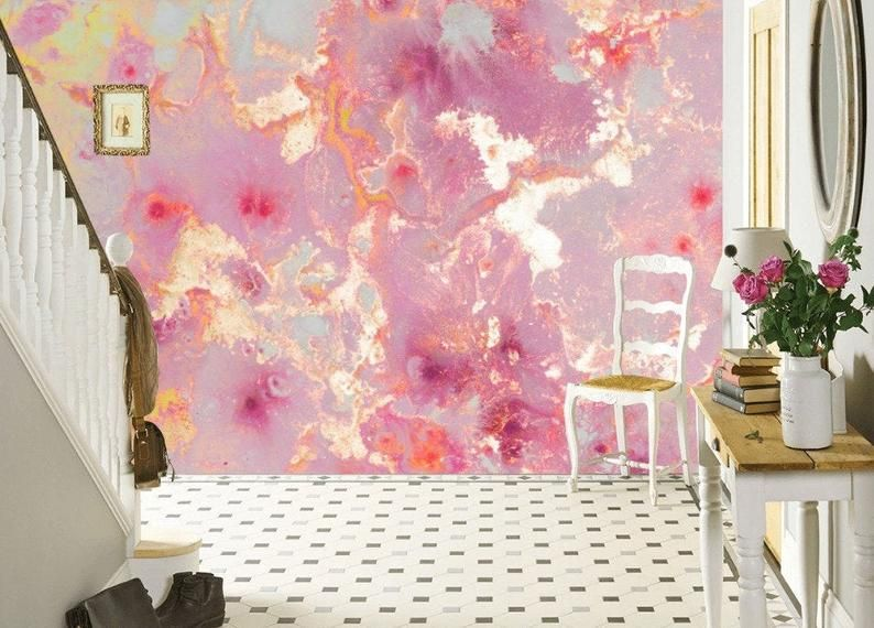 Pink Purple Gold Marble Vinyl Photo Wallpaper Modern Wall Etsy In 2020 Marble Vinyl Vinyl Wallpaper Wall Wallpaper