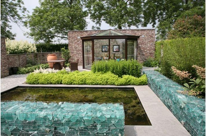 Beach Glass Gabions Yum Building Raised Beds Transitional Garden Modern Garden