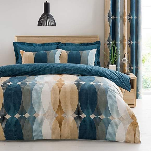 Elements Elijah Blue Blackout Eyelet Curtains Reversible Duvet Covers Duvet Covers Blue Linen Bedding