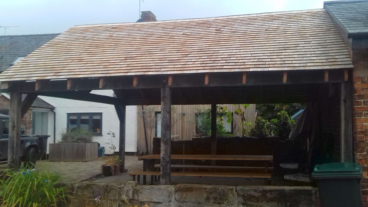 Best Bbq Area Sheltered By A Western Red Cedar Shingles Roof 400 x 300