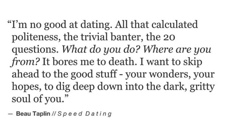 speed dating being my heart