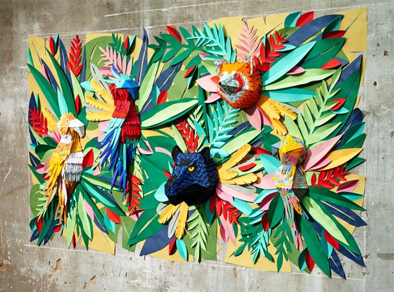 Fantastic 3D paper art jungle bursts with colours and life