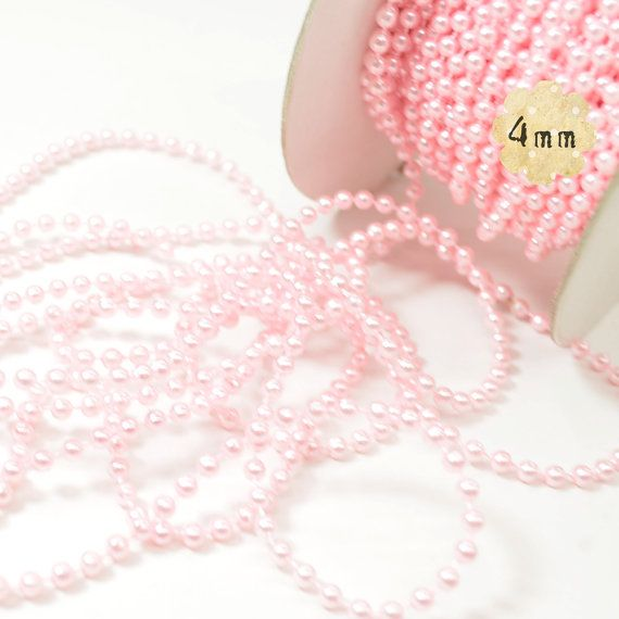 Pink Faux Pearl Beaded Trim  4mm Round  plastic beads by PLUMULE, $3.00
