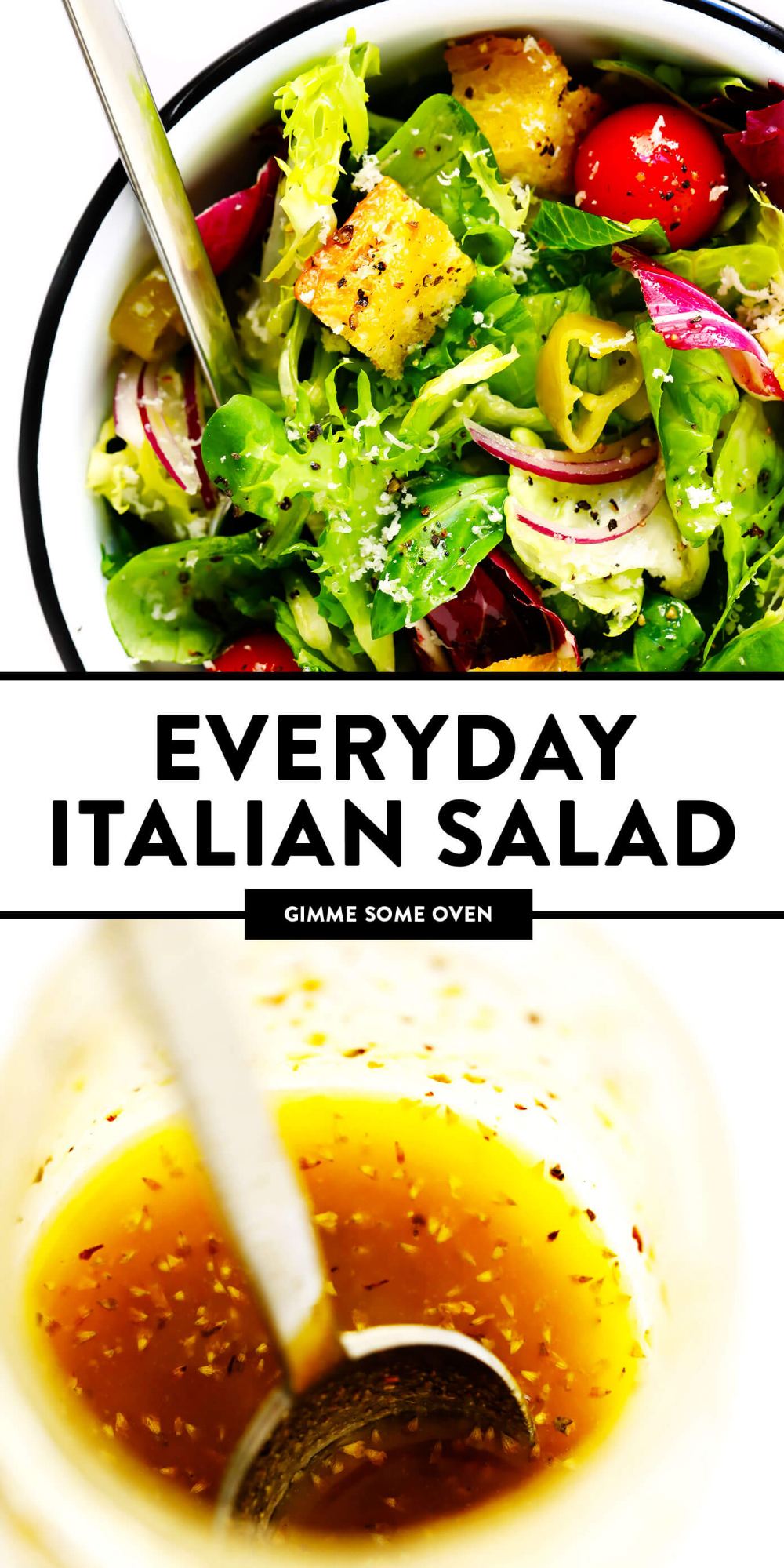 LOVE this easy Italian salad recipe Its inspired by the Olive Garden and made with fresh greens croutons pepperoncini red onions Parmesan and a zesty super simple Italian...