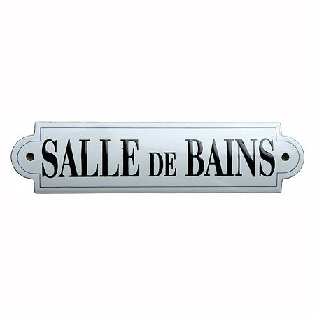 Bathroom french enamel door sign plaque la salle de bain for Plaque murale salle de bain
