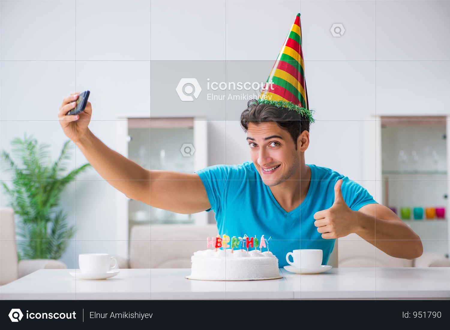 Premium Young Man Celebrating Birthday Alone At Home Photo Download In Png Jpg Format Birthday Party Photography Birthday Celebration Birthday Banner Free Printable
