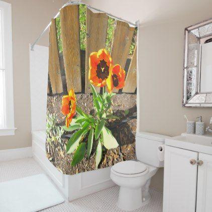 #pretty   #Orange Flowers Shower Curtain