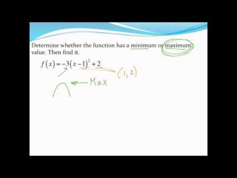 Finding A Minmax Value Of A Parabola In Vertex Form Youtube