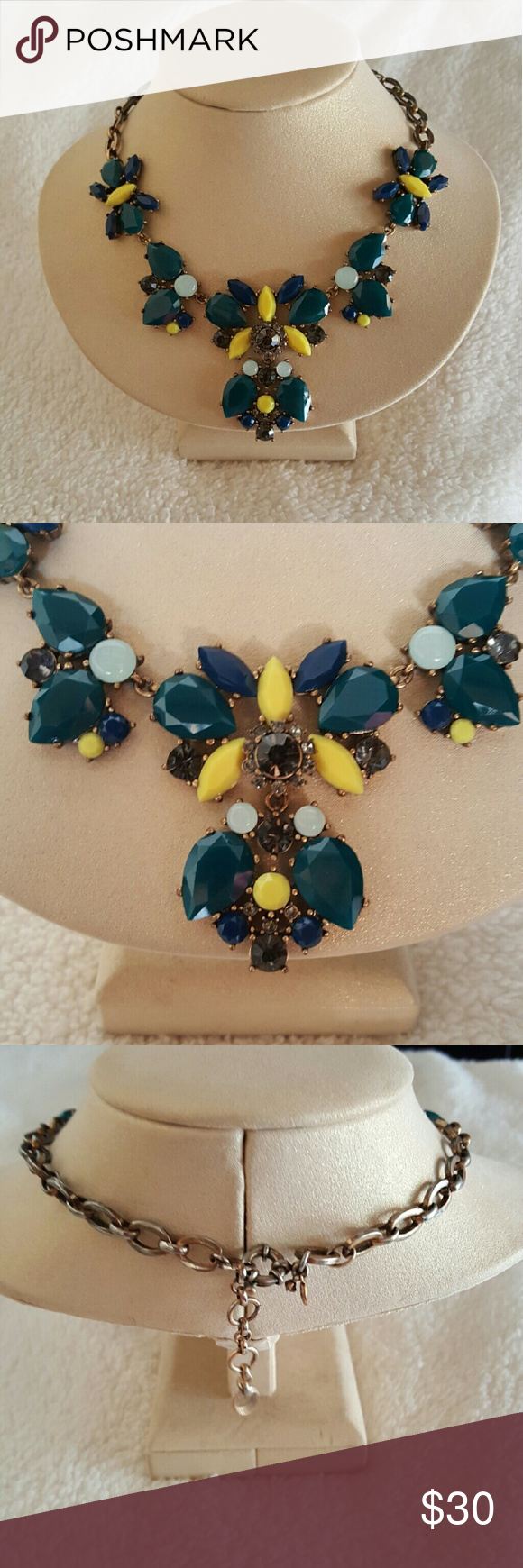Statement necklace Beautiful Jcrew necklace! I love the color combo on this.  Pair it with collared shirts or plain tees to dress it up! Nicely weighted as well! J. Crew Accessories