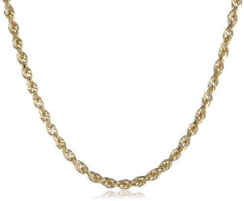 """Duragold Men's 14k Yellow Gold Solid Diamond-Cut Rope Chain Necklace (3.0mm ), 20"""""""