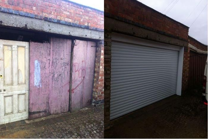 Before And After Installation White Electric Roller Garage Door