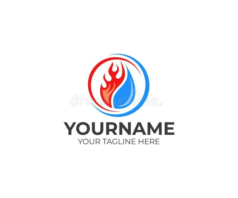 Flame And Drop Water Cooling And Heating Logo Template Plumbing