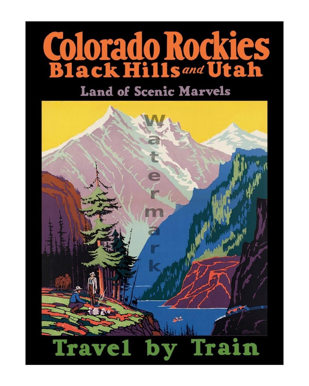Colorado Rockies Black Hill Utah vintage train travel poster repro 24x36