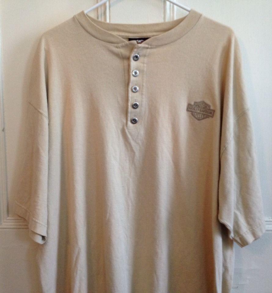 Harley Davidson Shirt Mens Size XL Henley Beige Short Sleeve 100% Cotton USA #HarleyDavidson #Henley