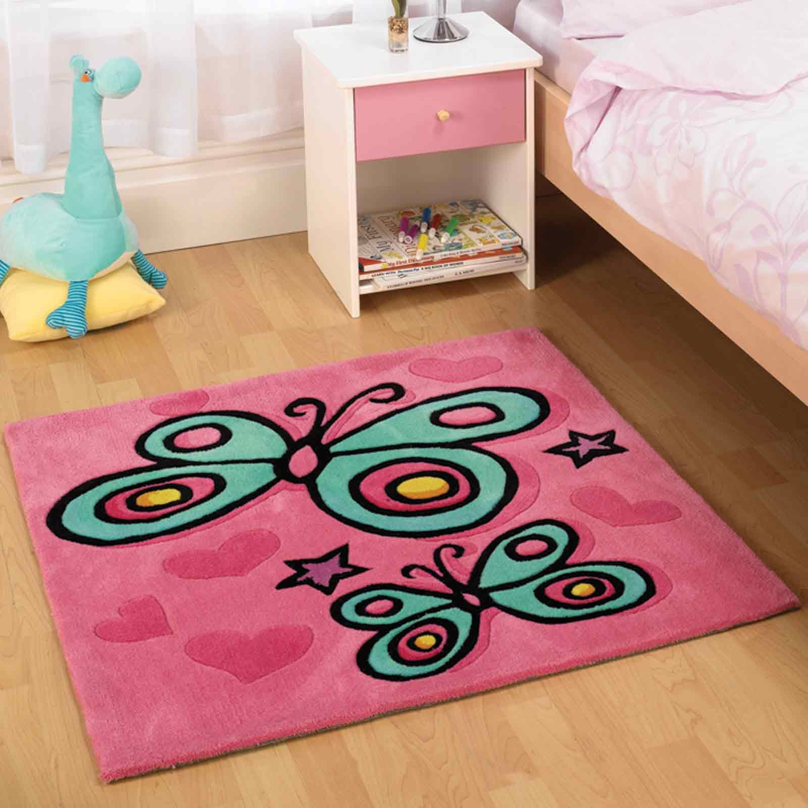 Erfly Pink Childrens Rugs With