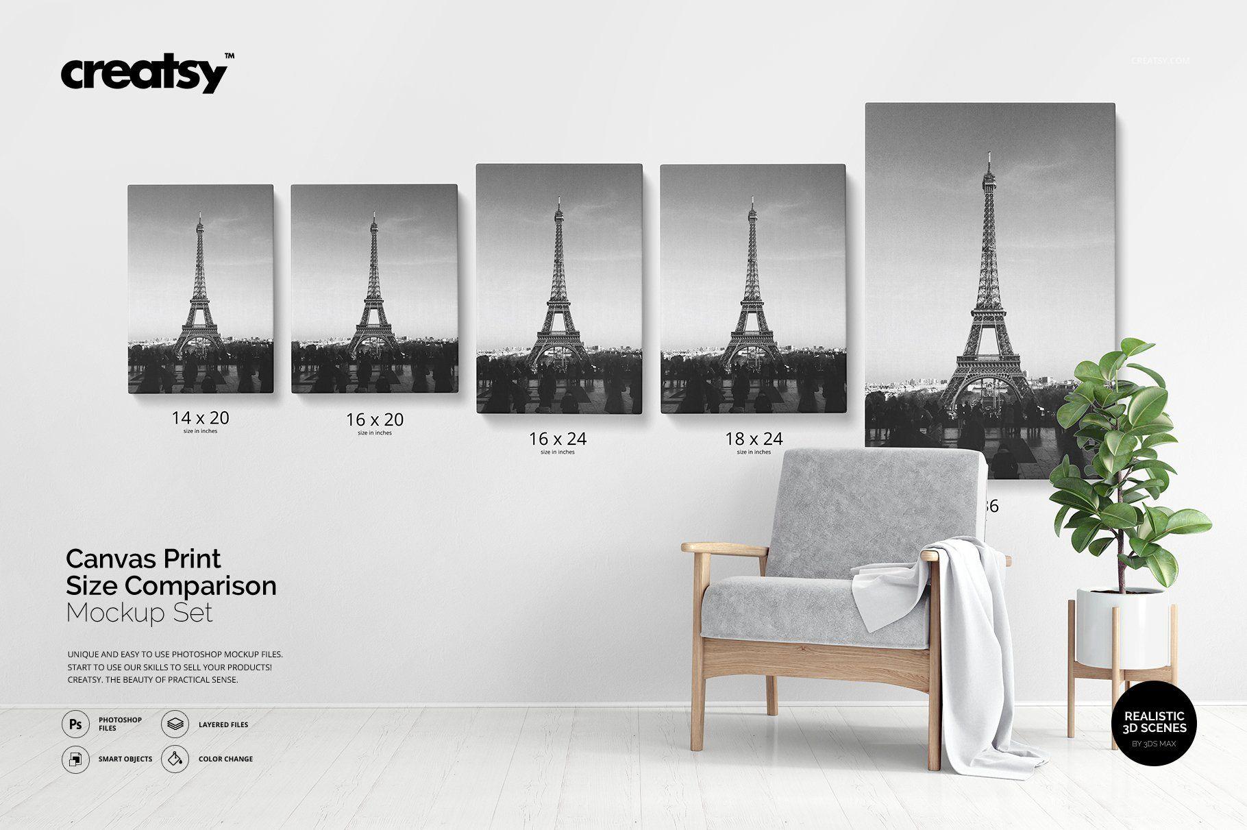 Canvas Print Size Comparison Mockup Canvas Prints Graphic Design Studios Wooden Floor Texture