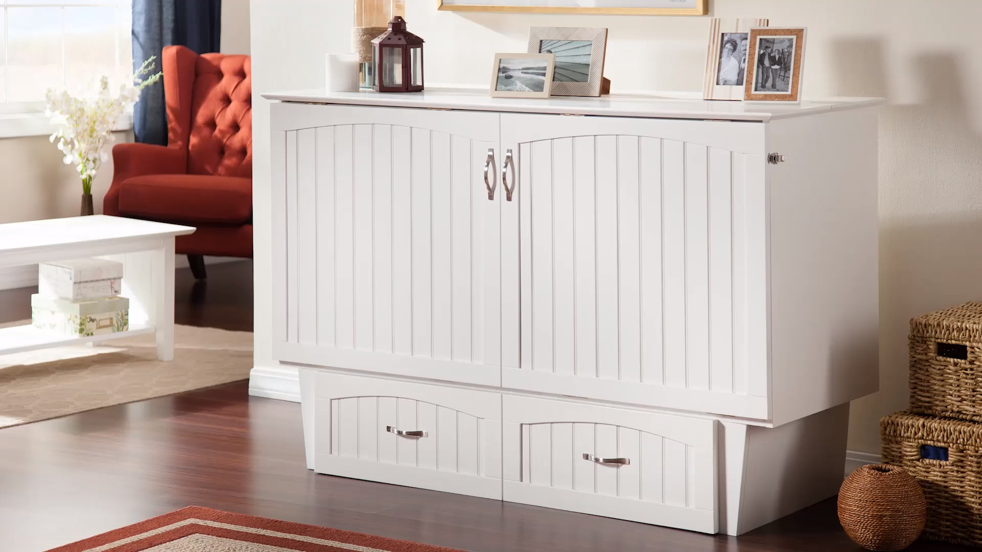 Skip the guest room, buy a Murphy Bed: a comfortable twin or queen sized bed tucked away inside an elegant, space-saving chest.