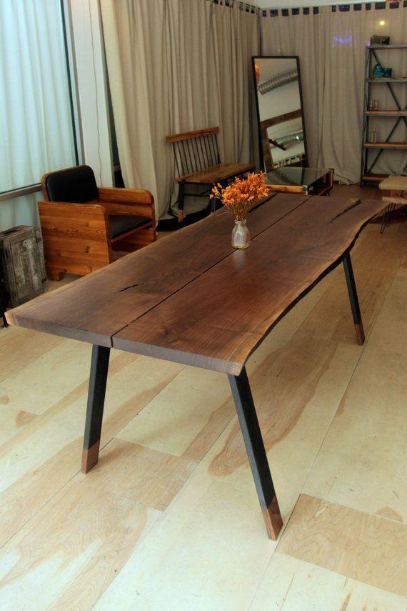 Reclaimed Live Edge Walnut Wood Dining Table By Recycledbrooklyn