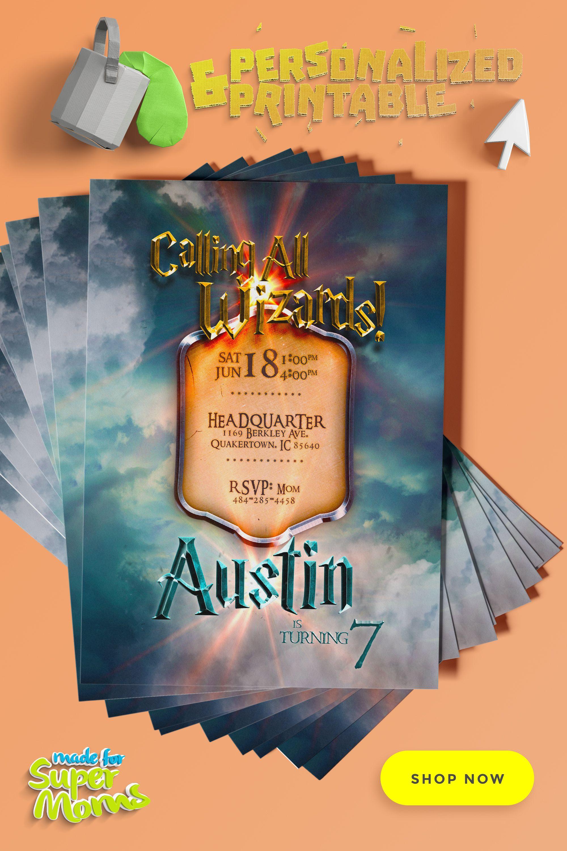 Harry Potter Invitations Harry Potter Invitations Harry Potter Baby Shower Invitations Kids Birthday Party Invitations
