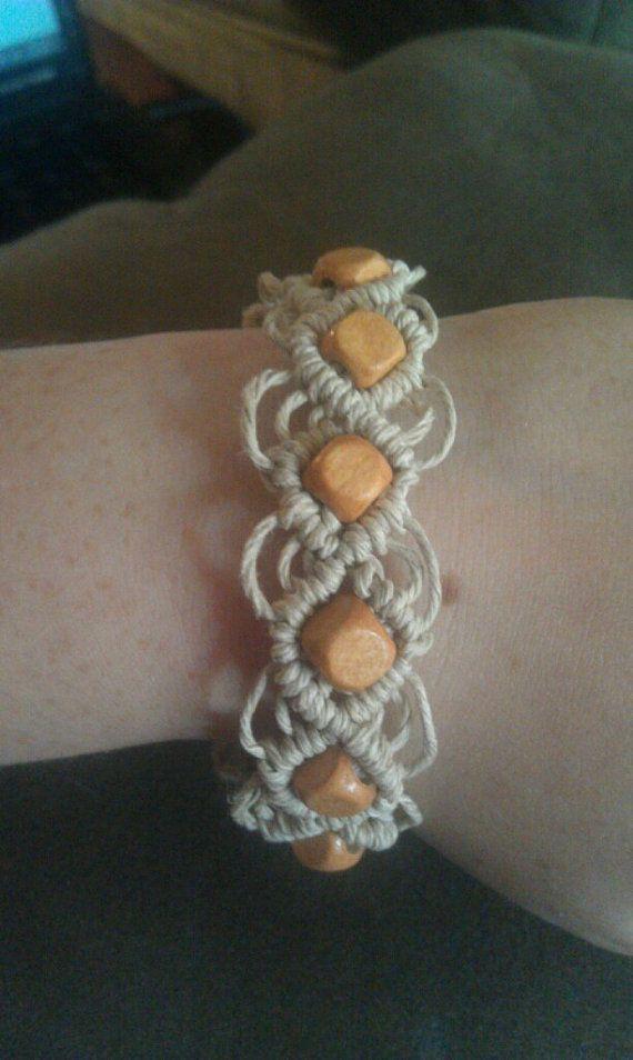 Macrame hemp bracelet by SmokinHemp on Etsy, $8.00