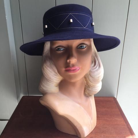 Vintage tøj - Marineblå hat - Hatte - Vintage Divine - 1