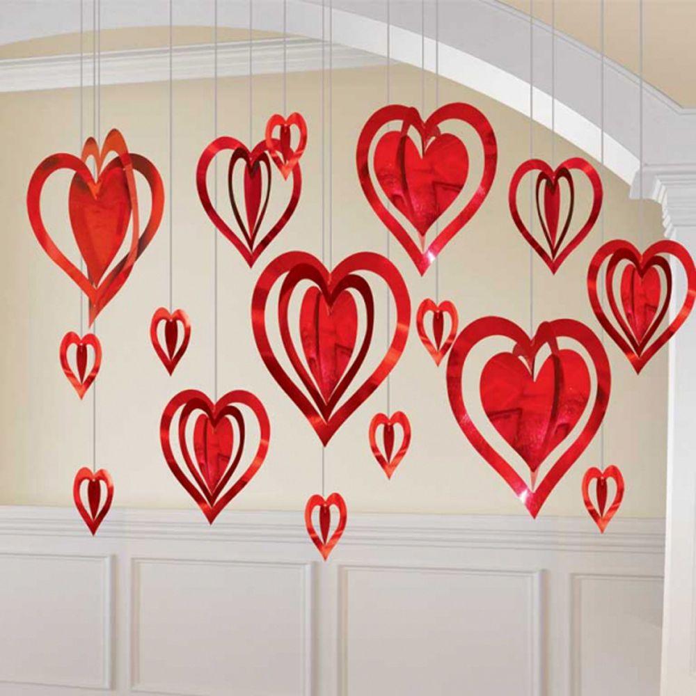 Valentine S Day 3d Red Pink Purple Love Heart Foil Hanging Decorations 16pk Ebay Diy Valentine S Day Decorations Valentines Party Decor Diy Valentines Decorations