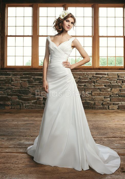 Glamorous Spring A line Straps Taffeta Court Train Wedding Gown