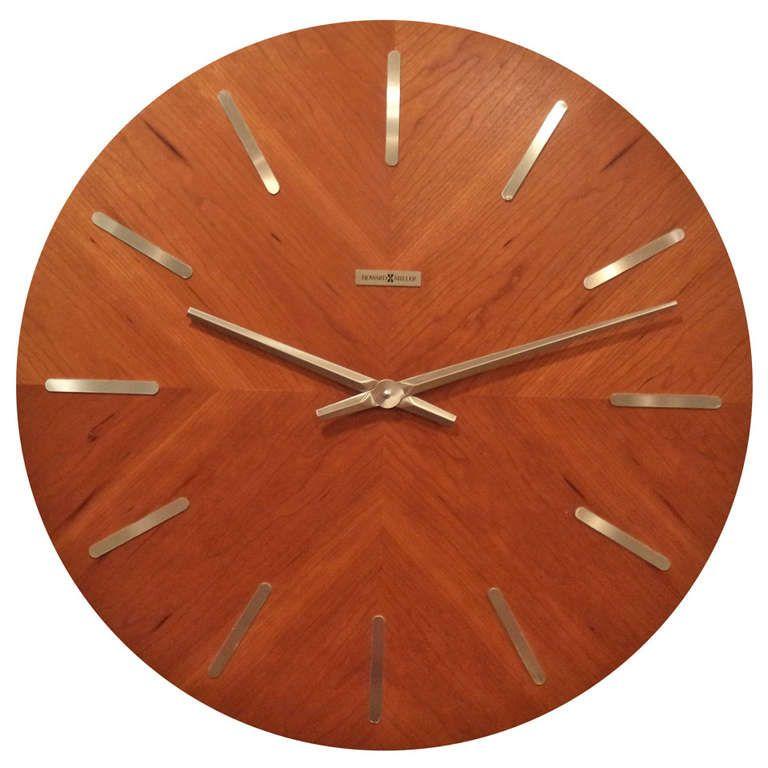 Mid Century Modern Teak Wall Clock By Howard Miller Mid Century Modern Wall Clock Wall Clock Modern Mid Century Wall Clock