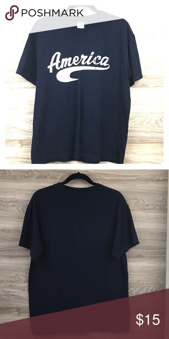 Blue And White Graphic Tee