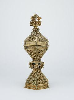 Standing Salt Silver-gilt, rock-crystal, pearls and enamel Origin: Probably London Date: c. 1494-1501