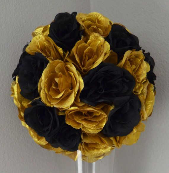 Black And Gold Kissing Ball Wedding Centerpiece By