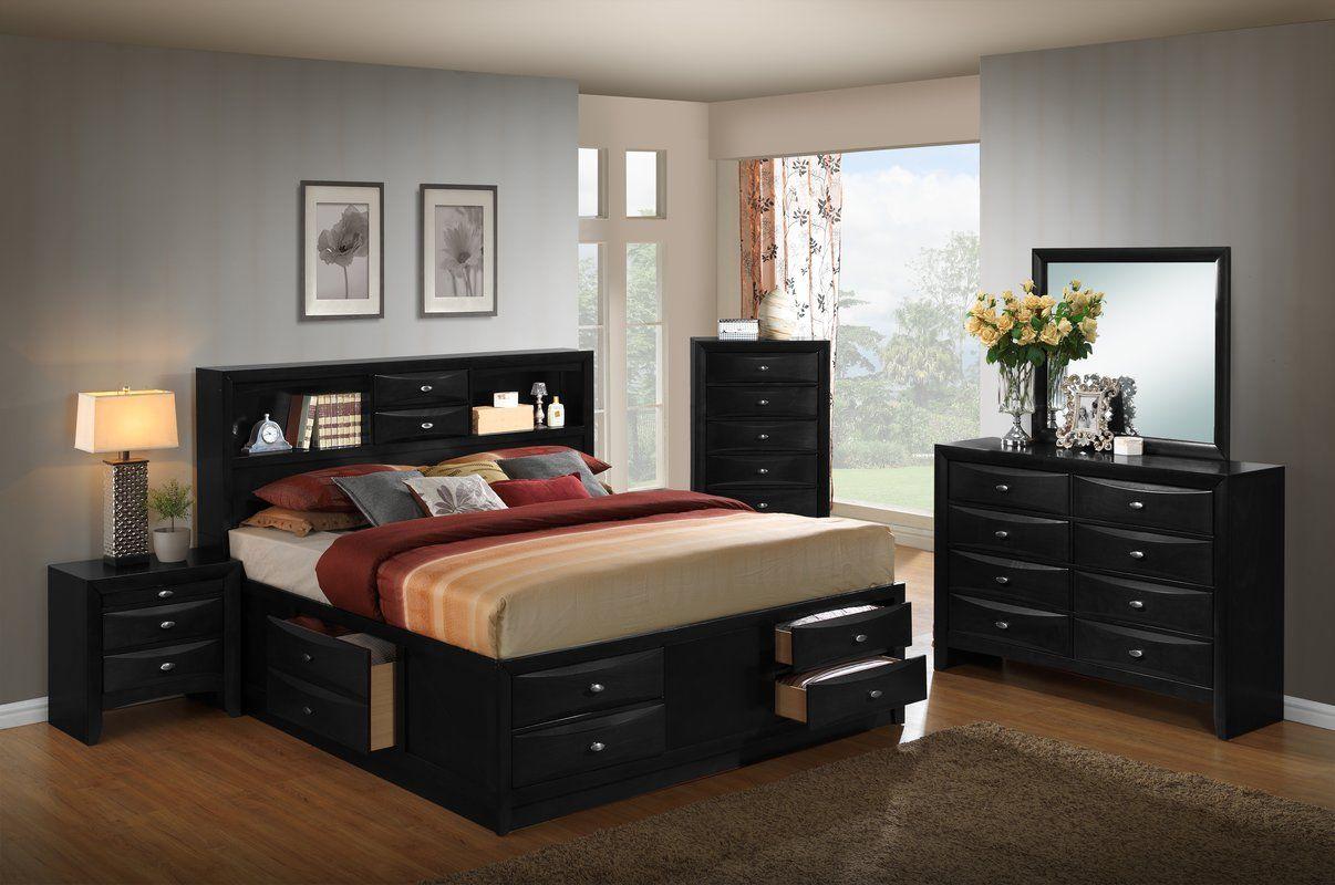 Plumwood Platform Solid Wood 5 Piece Bedroom Set Bedroom