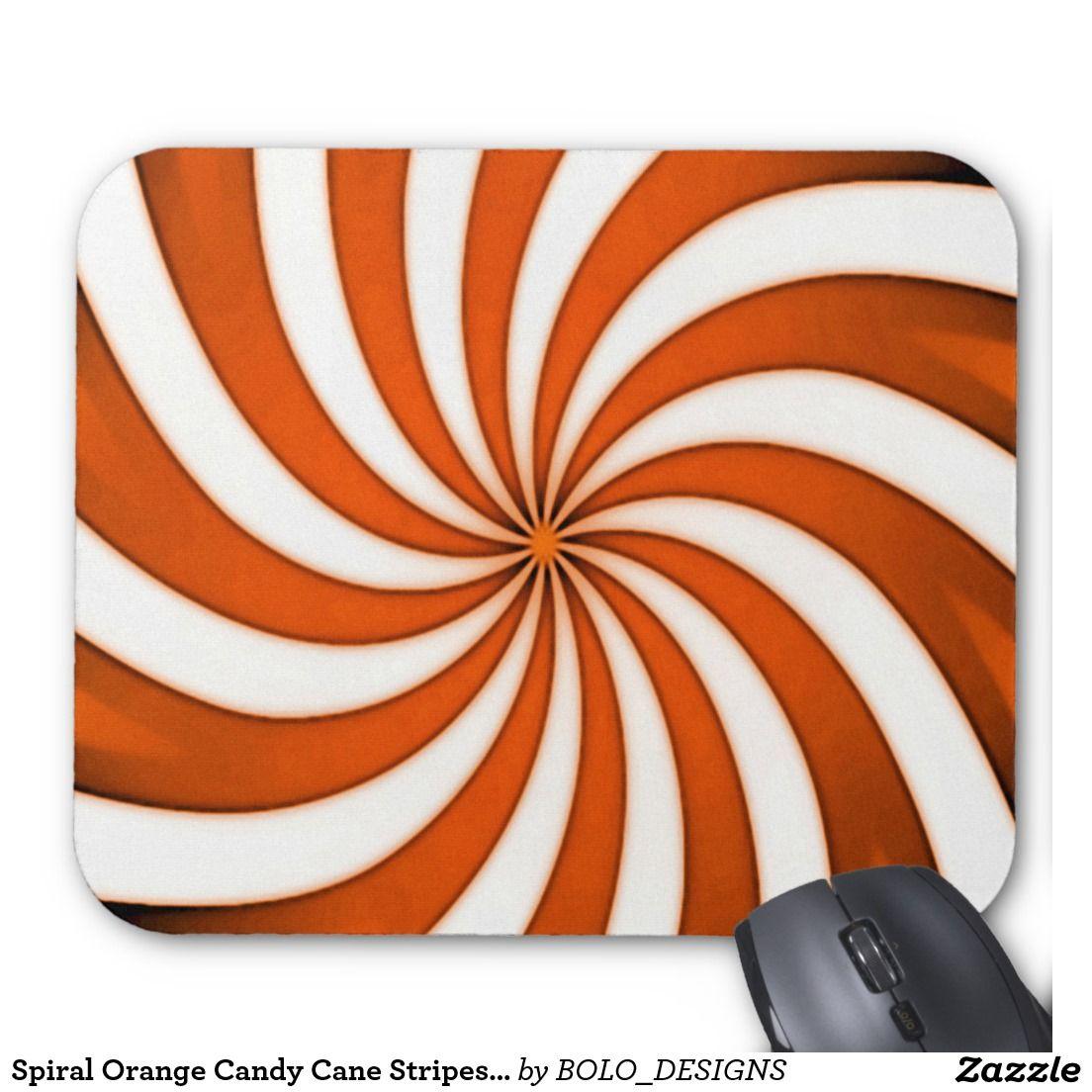 Spiral Orange Candy Cane Stripes Pattern Mouse Pad