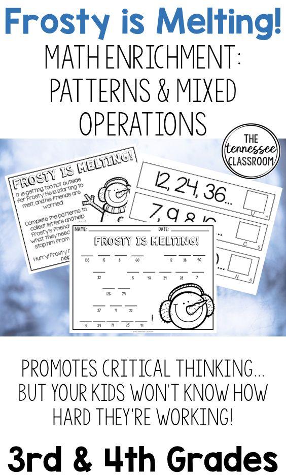 Winter Math Enrichment: Patterns & Mixed Operations | Math ...