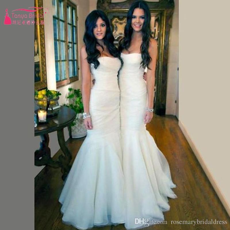 White Long Mermaid Bridesmaid Dresses Strapless Elegant Pleats