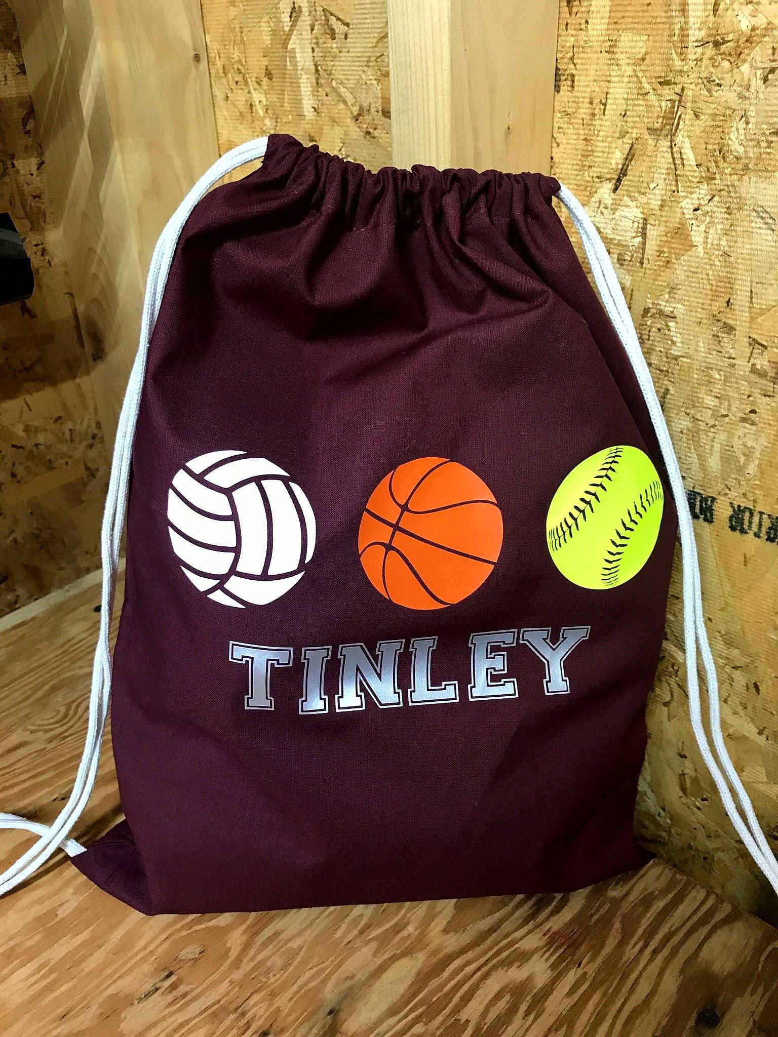 37061ec66d9e Drawstring bag with different sports and personalized with name. 14W x 18H  Choice of bag color