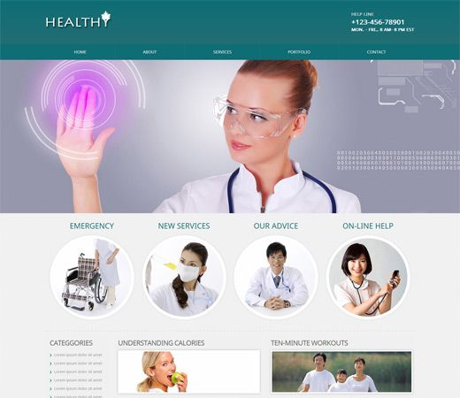 Hospital- doctor Bootstrap website template free download, doctor ...