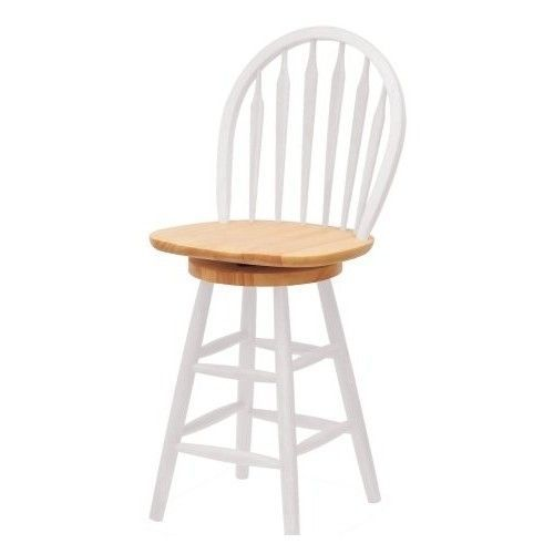 Windsor Swivel Seat Barstool Furniture Kitchen Natural White Wood 24 Inch Casual Winsome