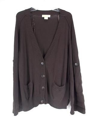 MICHAEL KORS Womens Oversized Brown Cotton Cardigan Button Down ...